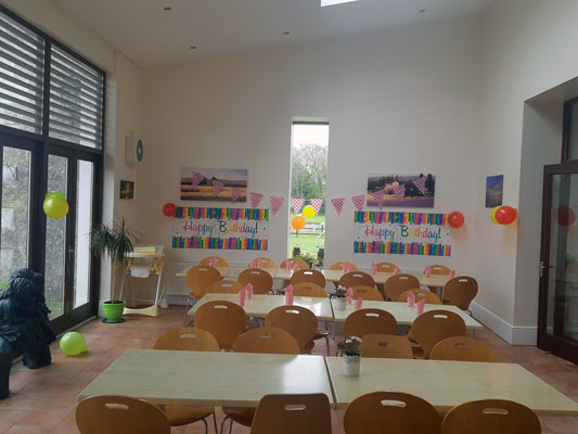 image set up for  birthday party